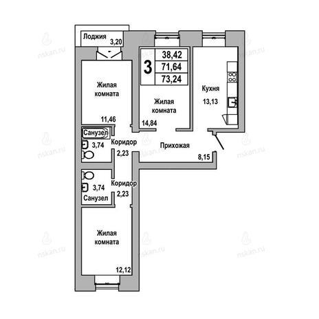 Вариант №1027, 3-комнатная квартира в жилом комплексе ГринАрт