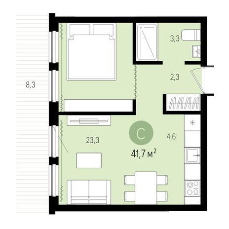 Вариант №4994, 2-комнатная квартира в жилом комплексе Пшеница