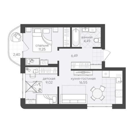 Вариант №6180, 3-комнатная квартира в жилом комплексе