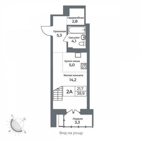 Вариант №5608, 2-комнатная квартира в жилом комплексе Я - Маяковский