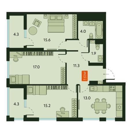 Вариант №6679, 3-комнатная квартира в жилом комплексе