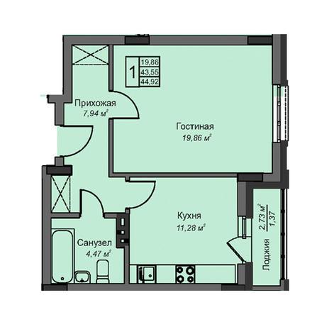 Вариант №3074, 1-комнатная квартира в жилом комплексе Дунаевский