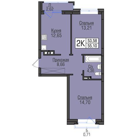 Вариант №2947, 2-комнатная квартира в жилом комплексе Акварельный 3.0