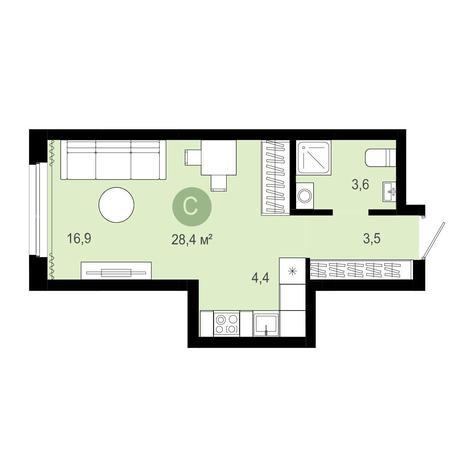 Вариант №4084, 1-комнатная квартира в жилом комплексе Крымский