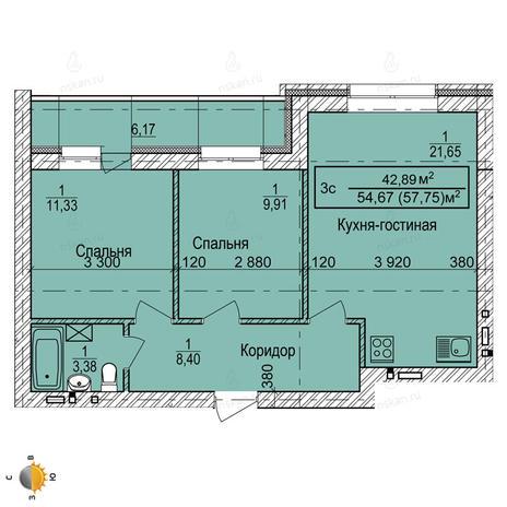 Вариант №2252, 3-комнатная квартира в жилом комплексе