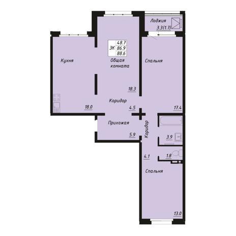 Вариант №5269, 3-комнатная квартира в жилом комплексе Пшеница
