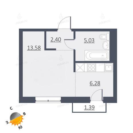 Вариант №1656, 1-комнатная квартира в жилом комплексе Дунаевский