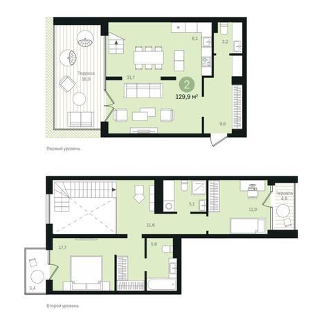 Вариант №6345, 3-комнатная квартира в жилом комплексе