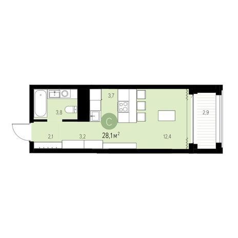 Вариант №5445, 1-комнатная квартира в жилом комплексе