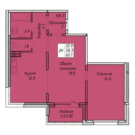 Вариант №6464, 2-комнатная квартира в жилом комплексе