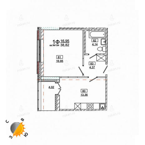 Вариант №979, 1-комнатная квартира в жилом комплексе Римский квартал
