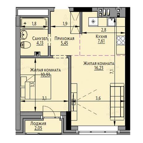 Вариант №2685, 2-комнатная квартира в жилом комплексе Академия