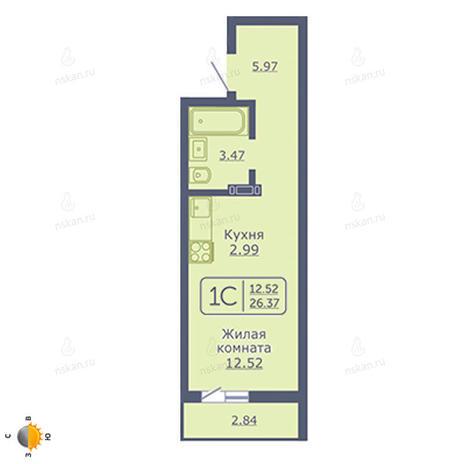Вариант №2045, 1-комнатная квартира в жилом комплексе Радуга Сибири