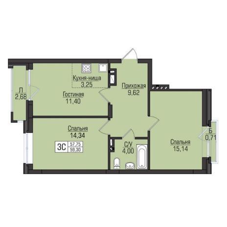 Вариант №5086, 3-комнатная квартира в жилом комплексе