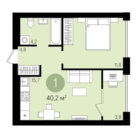 Вариант №3000, 2-комнатная квартира в жилом комплексе
