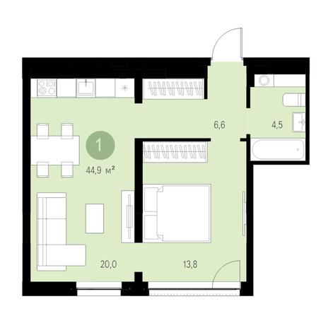 Вариант №4707, 2-комнатная квартира в жилом комплексе Европейский Берег