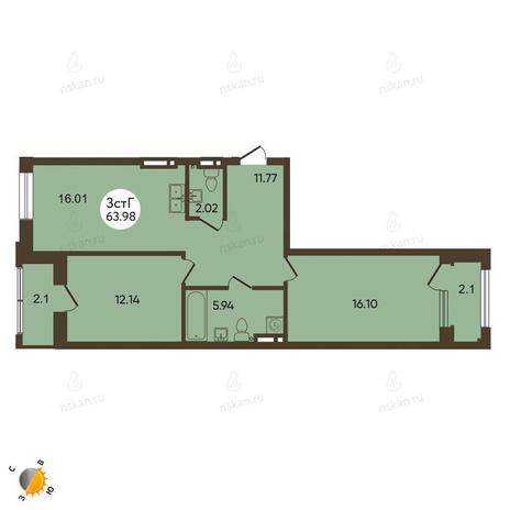 Вариант №2118, 3-комнатная квартира в жилом комплексе История