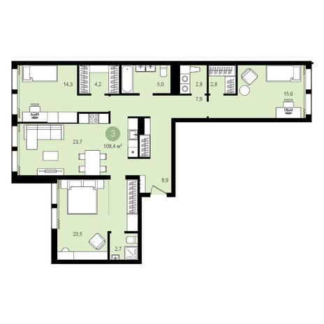 Вариант №4276, 4-комнатная квартира в жилом комплексе Пшеница