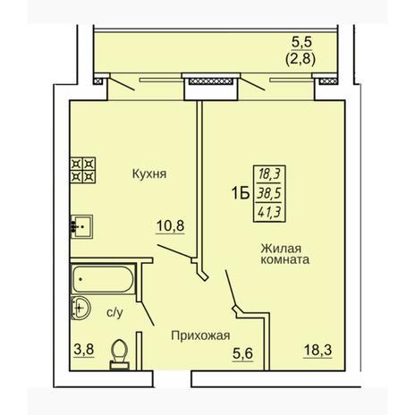 Вариант №4332, 1-комнатная квартира в жилом комплексе