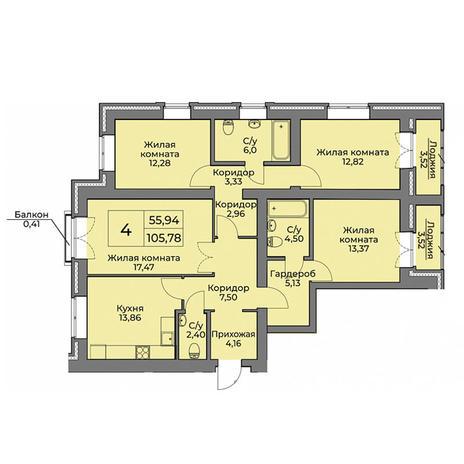 Вариант №3561, 4-комнатная квартира в жилом комплексе
