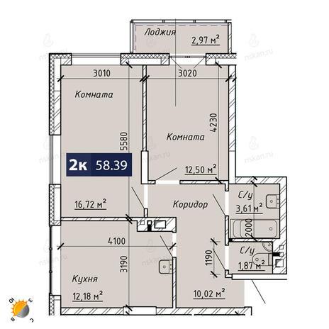 Вариант №1867, 2-комнатная квартира в жилом комплексе На Лежена
