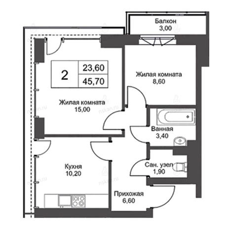 Вариант №2730, 2-комнатная квартира в жилом комплексе