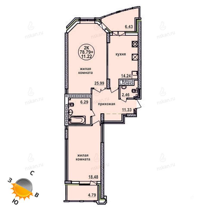 Планировка 2-комнатная площадью 78.79 м<sup>2</sup> в ЖК Заельцовский