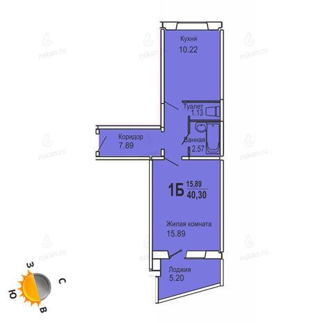 Вариант №729, 1-комнатная квартира в жилом комплексе Софийский квартал