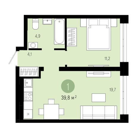 Вариант №4802, 2-комнатная квартира в жилом комплексе Европейский Берег