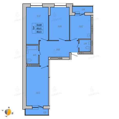 Вариант №1929, 3-комнатная квартира в жилом комплексе Лазурит