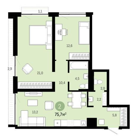 Вариант №6393, 3-комнатная квартира в жилом комплексе
