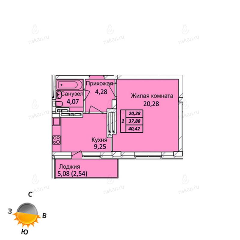 Планировка 1-комнатная площадью 40.42 м<sup>2</sup> в ЖК Тихвинский квартал