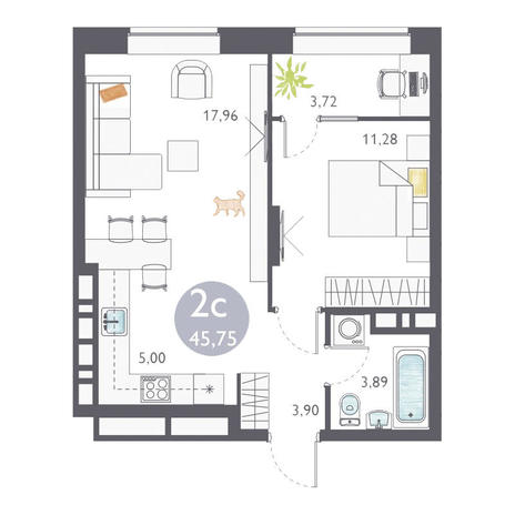 Вариант №3356, 2-комнатная квартира в жилом комплексе Ясный берег