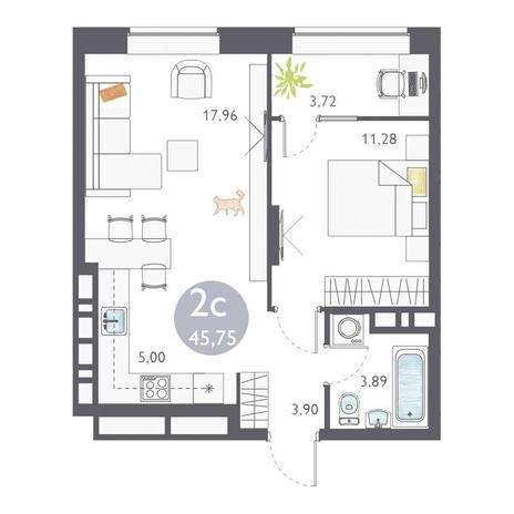 Вариант №3356, 2-комнатная квартира в жилом комплексе