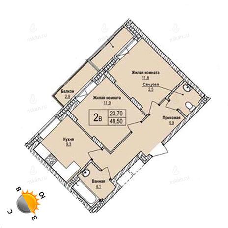 Вариант №1247, 2-комнатная квартира в жилом комплексе Северная корона