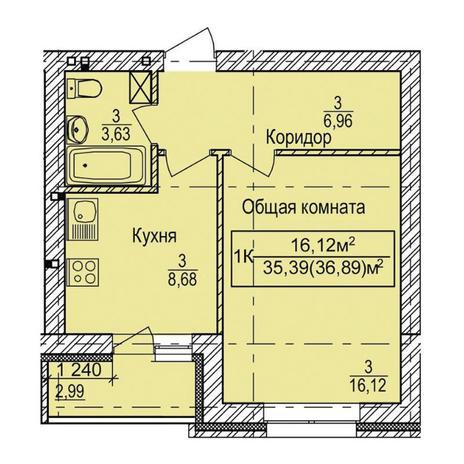 Вариант №3341, 1-комнатная квартира в жилом комплексе