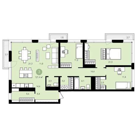 Вариант №4167, 4-комнатная квартира в жилом комплексе Авиатор
