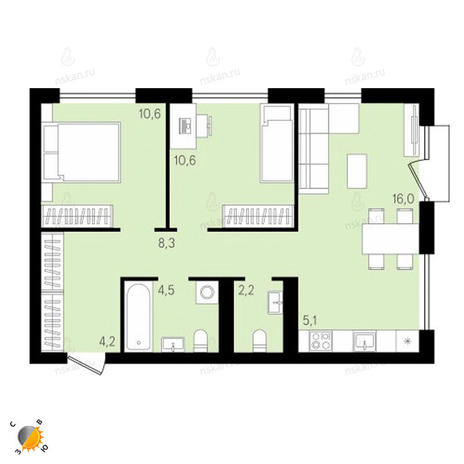 Вариант №2151, 3-комнатная квартира в жилом комплексе