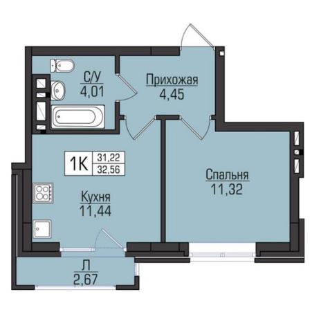 Вариант №5079, 1-комнатная квартира в жилом комплексе