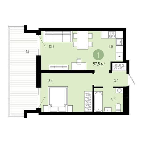Вариант №4611, 2-комнатная квартира в жилом комплексе Европейский Берег