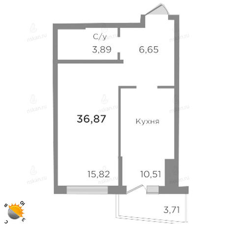 Вариант №1755, 1-комнатная квартира в жилом комплексе Ясный берег