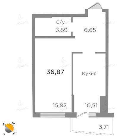 Вариант №1755, 1-комнатная квартира в жилом комплексе