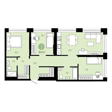 Вариант №4801, 4-комнатная квартира в жилом комплексе Европейский Берег