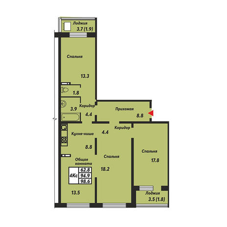 Вариант №3682, 3-комнатная квартира в жилом комплексе Облака
