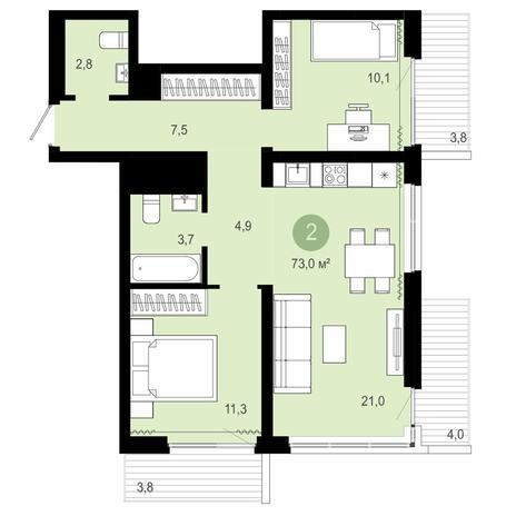 Вариант №4078, 3-комнатная квартира в жилом комплексе Оазис