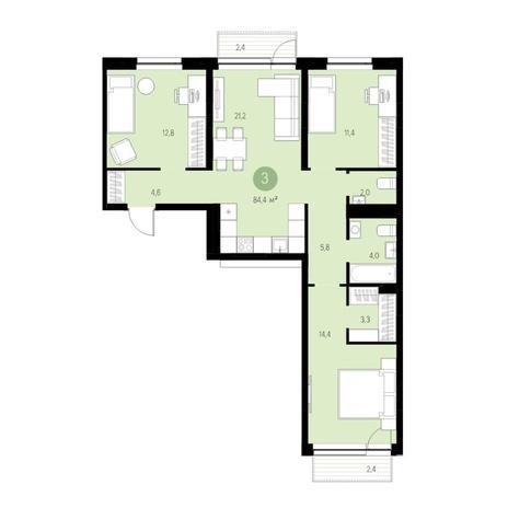 Вариант №4663, 4-комнатная квартира в жилом комплексе Европейский Берег
