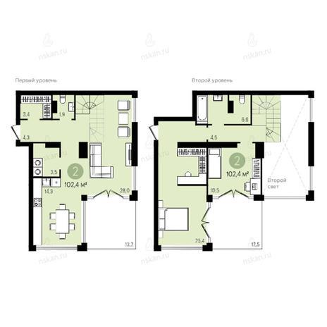 Вариант №2605, 3-комнатная квартира в жилом комплексе Квартал на Никитина