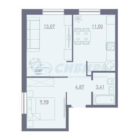 Вариант №3746, 2-комнатная квартира в жилом комплексе Акварельный 3.0