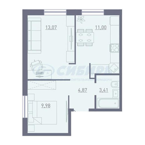 Вариант №3746, 2-комнатная квартира в жилом комплексе