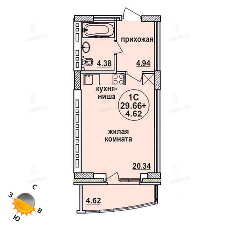 Вариант №629, 1-комнатная квартира в жилом комплексе Заельцовский